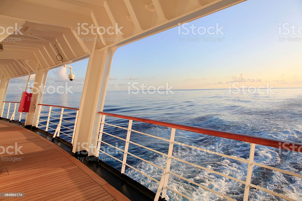 Looking out the Stern of a Cruise Ship stock photo