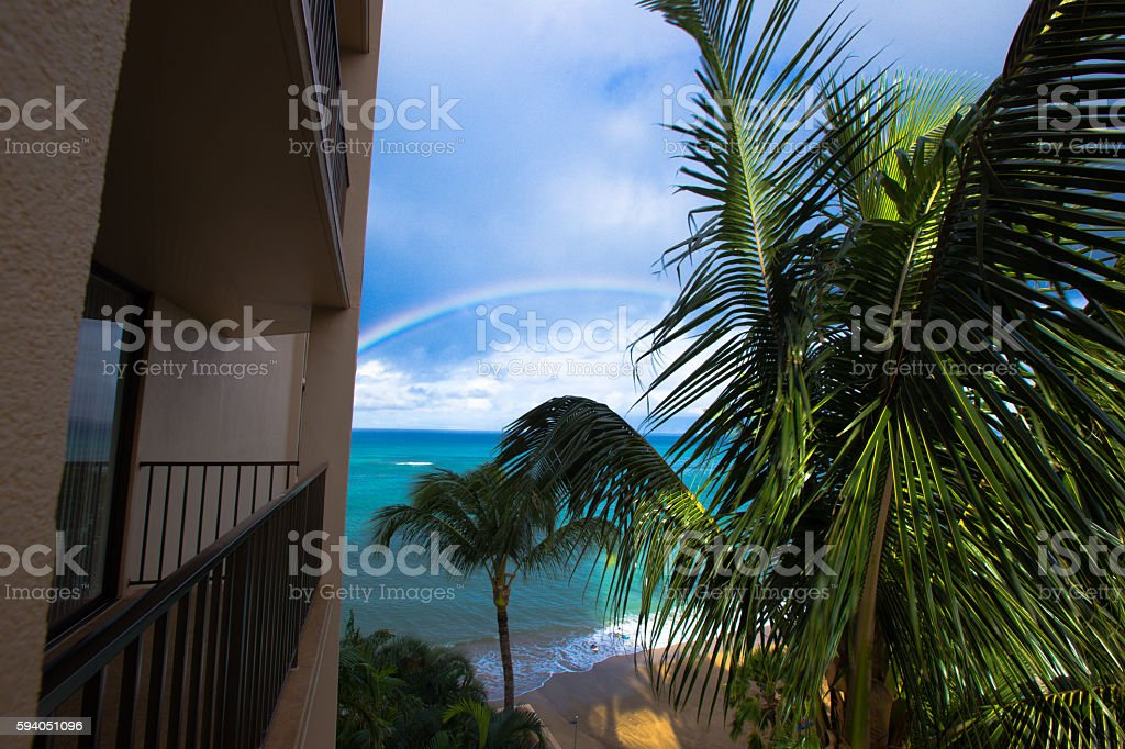 Looking out the window to the sea luxury hotel stock photo