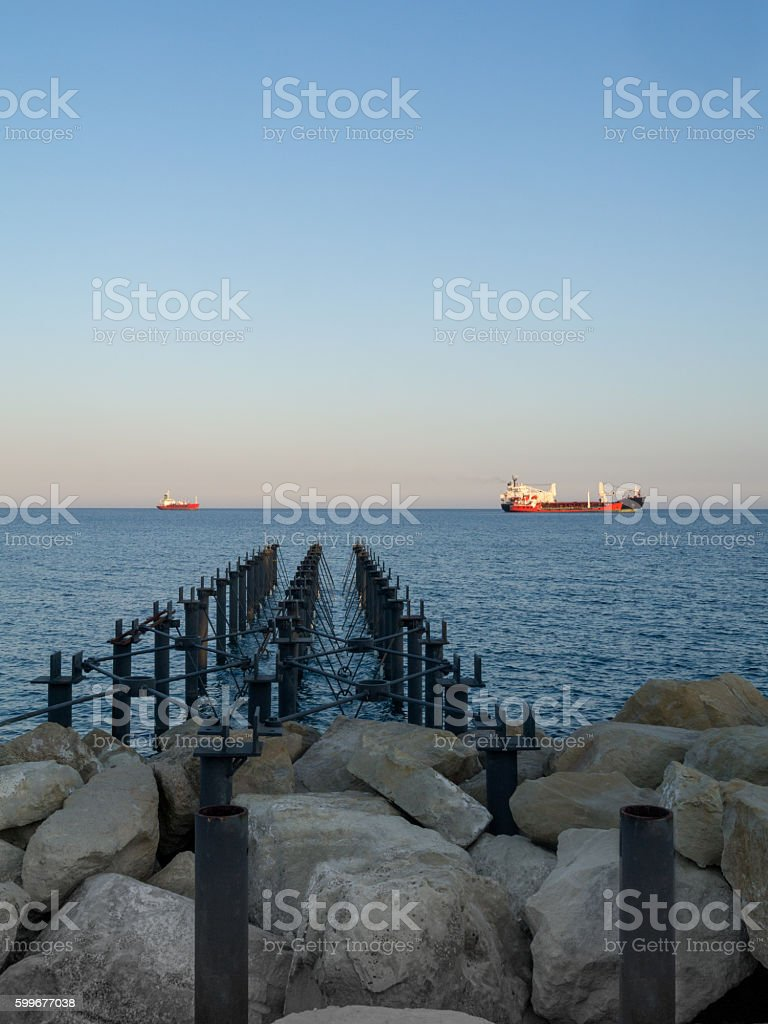 Looking out to sea from the jetty stock photo