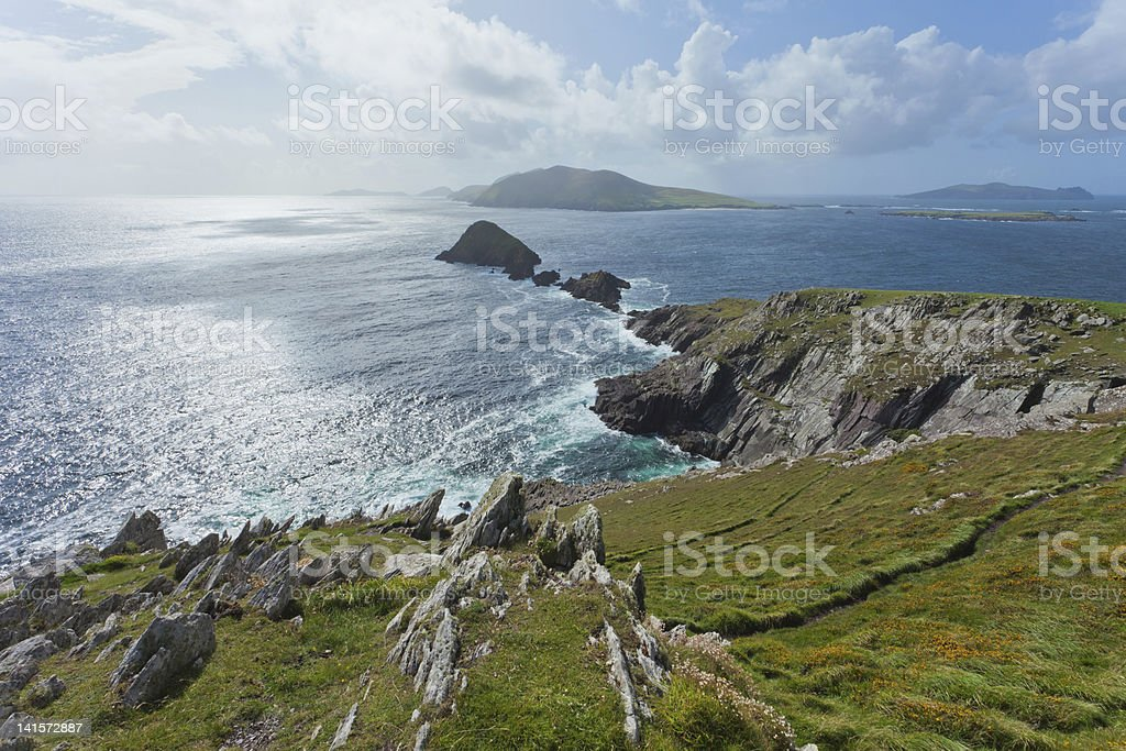 looking out towards blasket islands stock photo