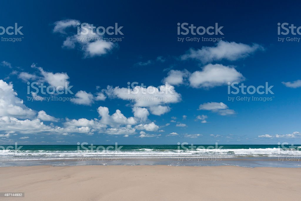 Looking out towards the horizon at Porthtowan beach in Cornwall stock photo