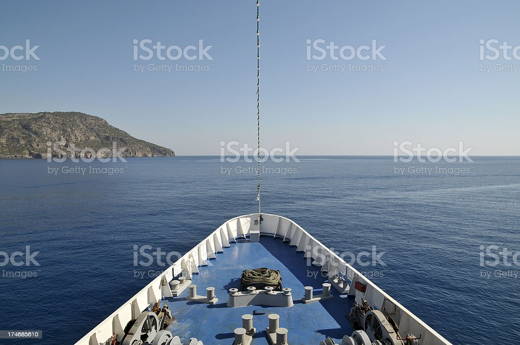 Looking Over Bow of Ship royalty-free stock photo