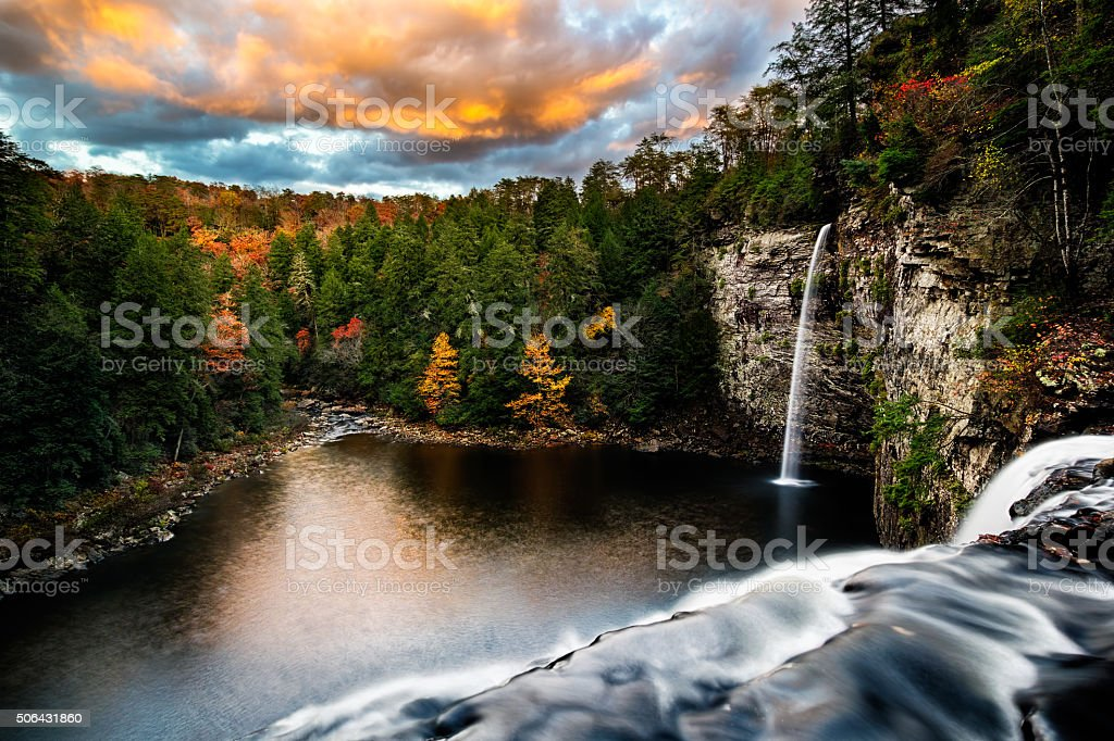 Looking Over Cane Creek Falls stock photo