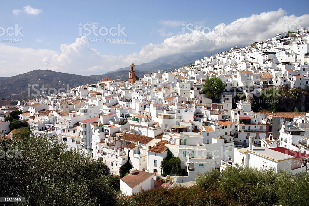 Looking over Competa in Andalusia stock photo
