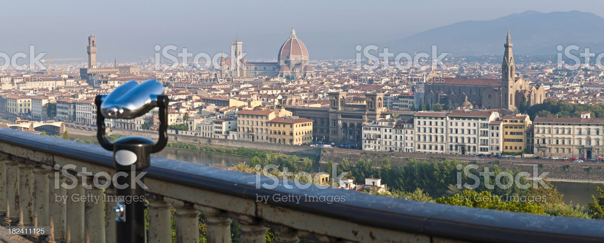 Looking over Florence landmarks palaces Duomo Arno Tuscany Italy panorama royalty-free stock photo