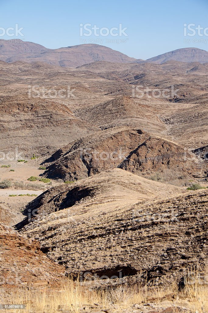 Looking over Mountains of Kuiseb Pass, Namibia stock photo