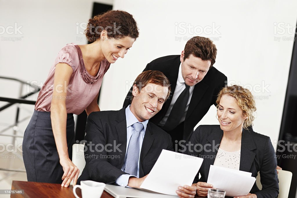 Looking over some paperwork together royalty-free stock photo
