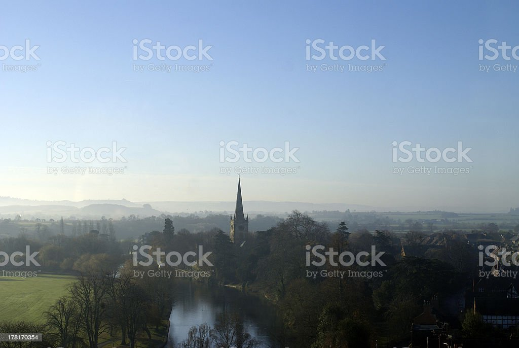 Looking over Stratford upon Avon, Warwickshire, England royalty-free stock photo
