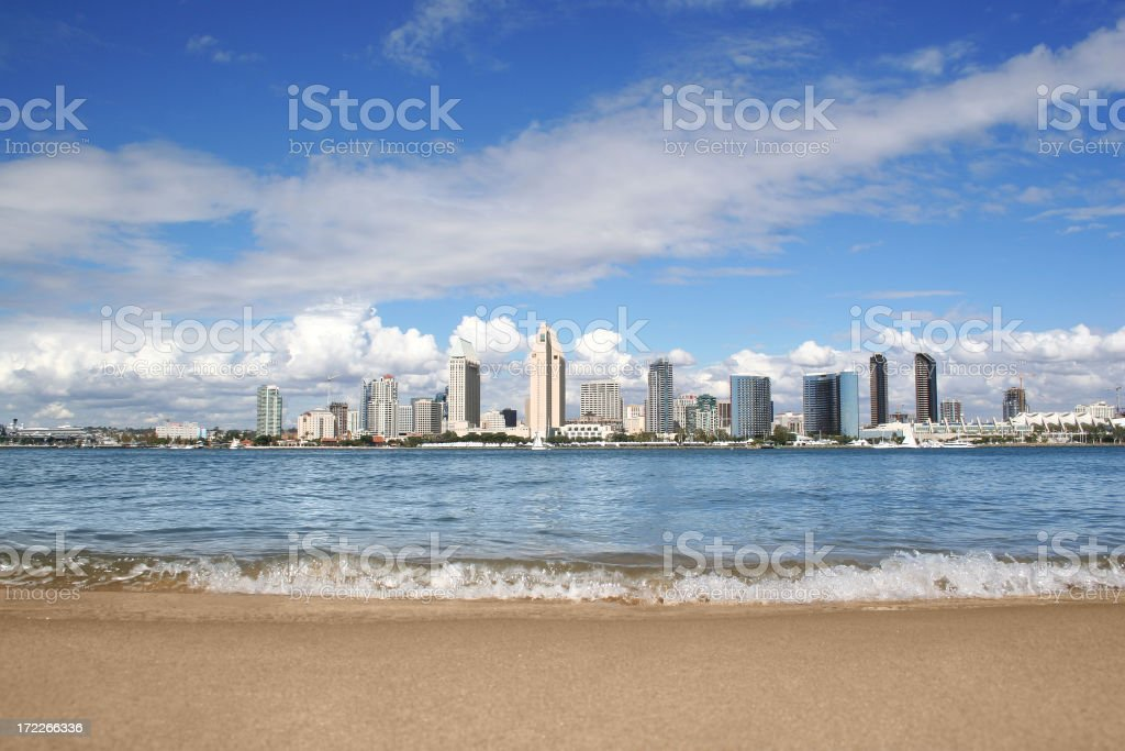 Looking over the beach and sea to San Diego City stock photo