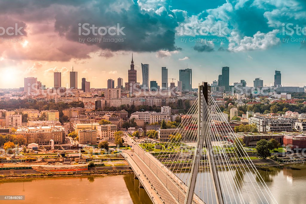 Looking over the bridge to the city of Warsaw in Poland stock photo