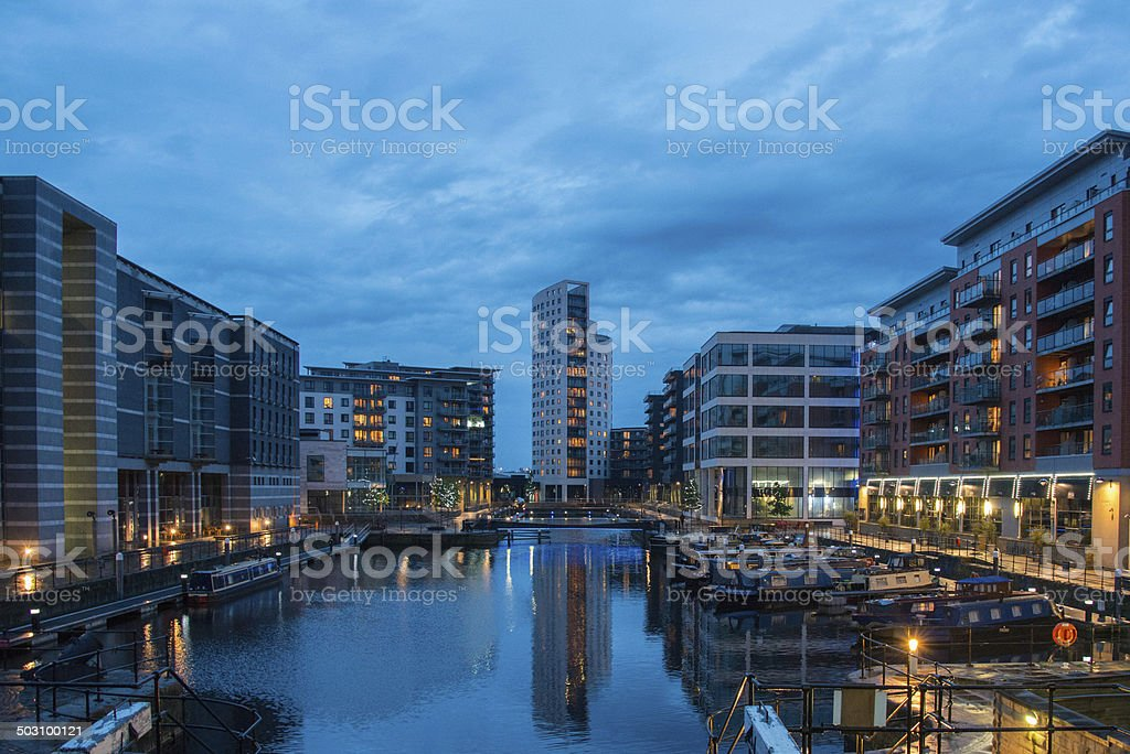 Looking Over The Canal In Leeds, Yorkshire stock photo