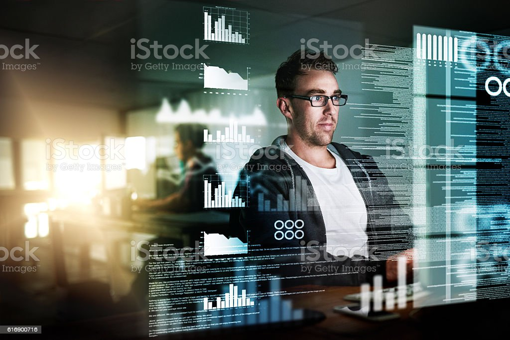 Looking over the data stock photo