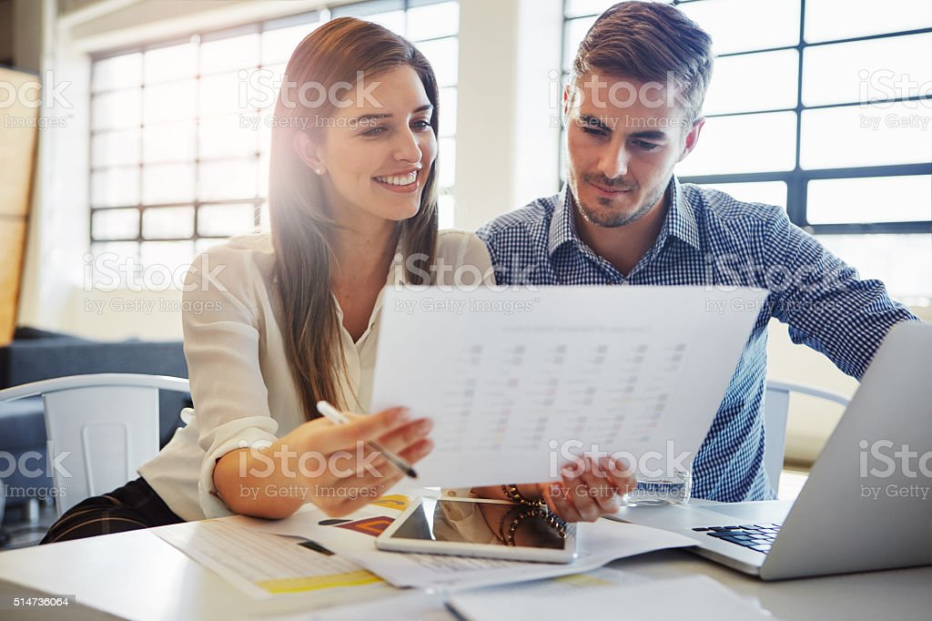 Looking over the paperwork royalty-free stock photo