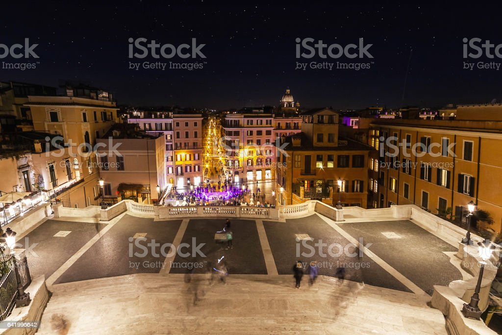 Looking over the Piazza di Spanga at night stock photo