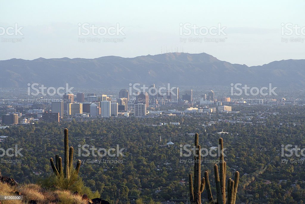 Looking over the skyline of downtown Phoenix royalty-free stock photo