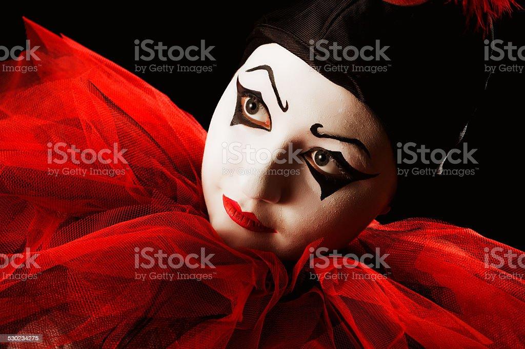 Looking Pierrot stock photo