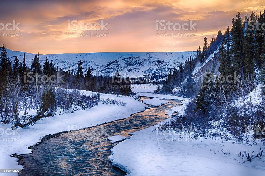 Looking southwest up Phelan Creek stock photo