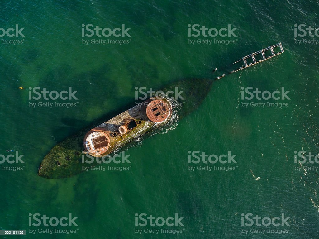 Looking straight down from the air at historic shipwreck HMVS stock photo