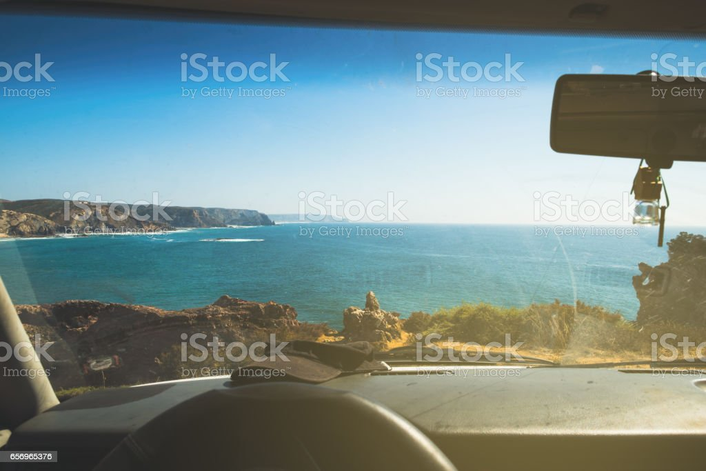 Looking the Sea through the windshield stock photo