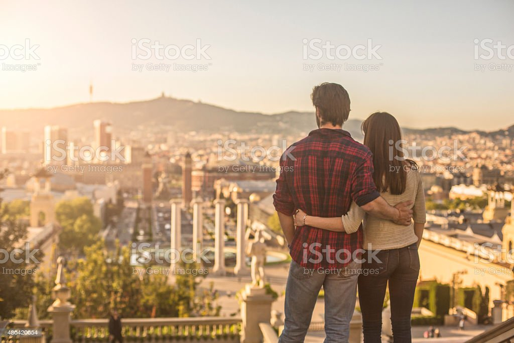 Looking the sun going down in Barcelona stock photo