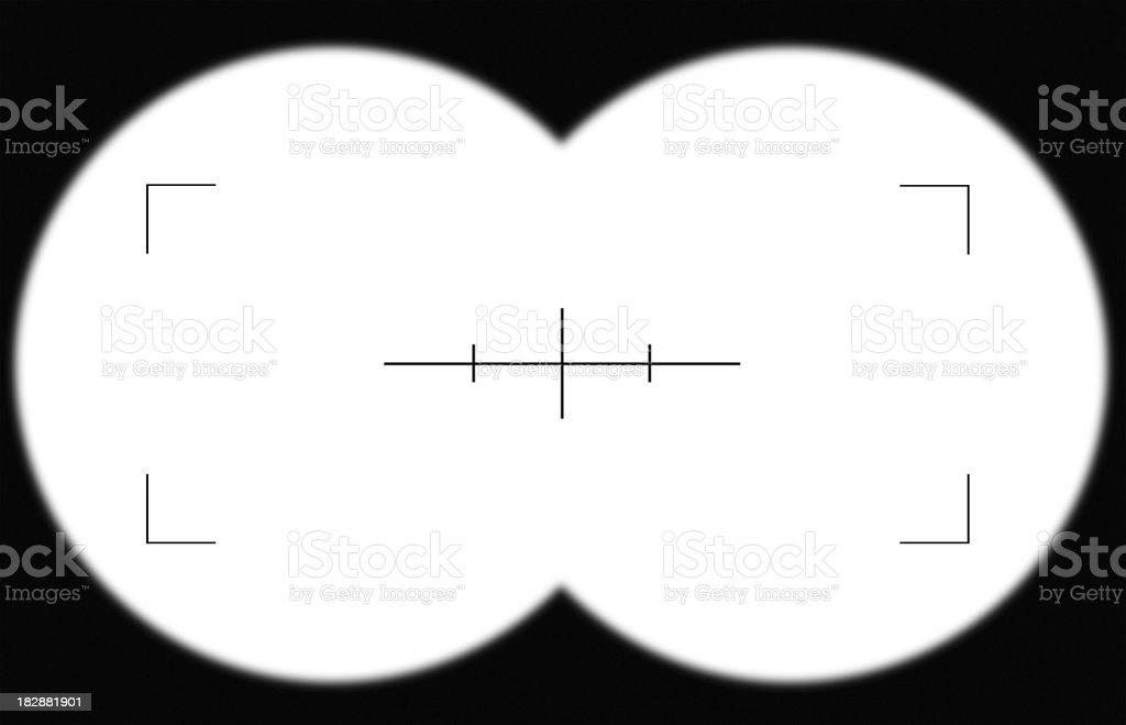 Looking through a binocular viewfinder stock photo