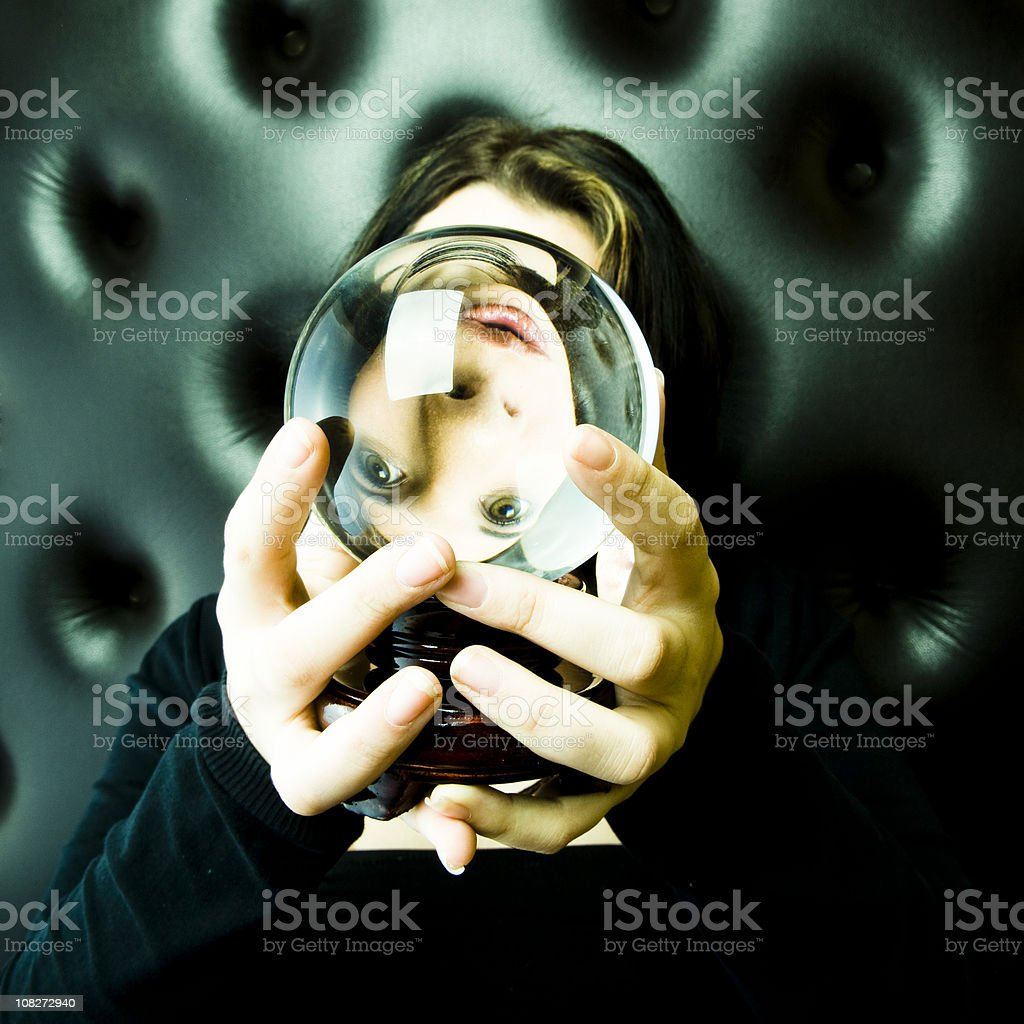 Looking through a Chrystal Ball stock photo