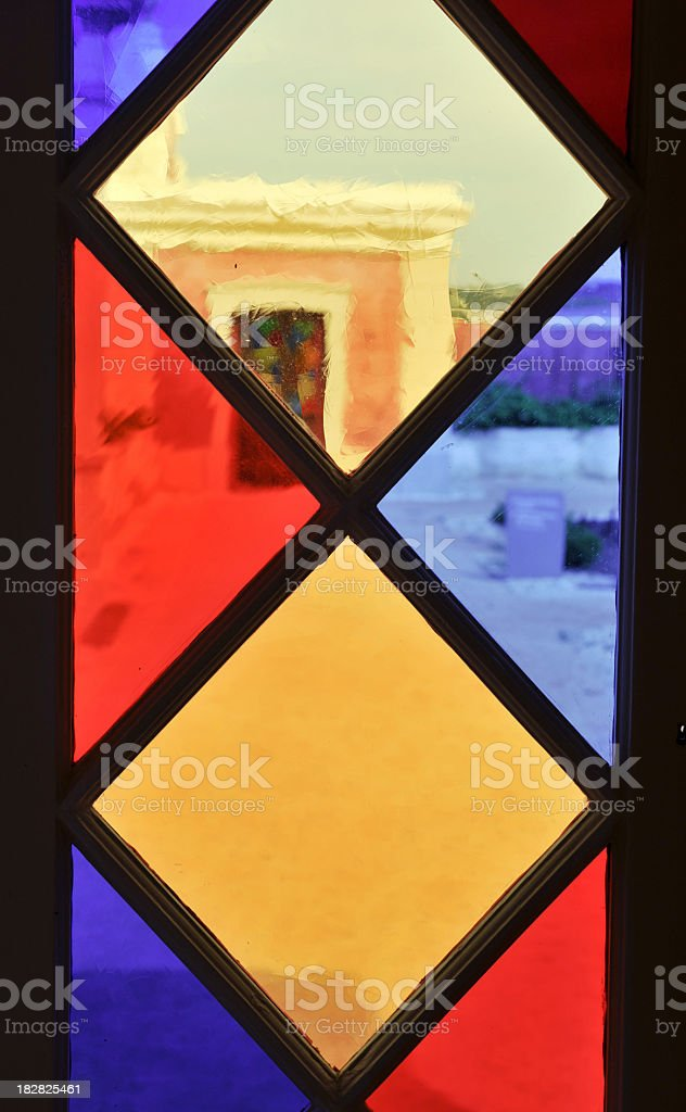 Looking through a colored window royalty-free stock photo