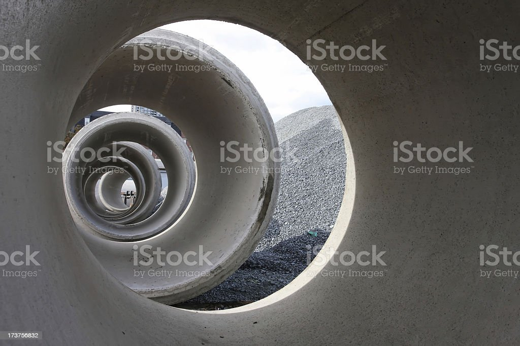 Looking Through Concrete Culverts royalty-free stock photo