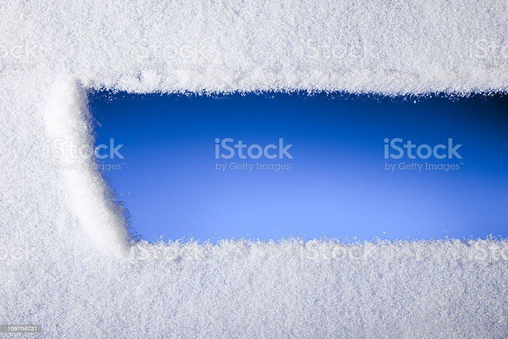 Looking through frozen window stock photo
