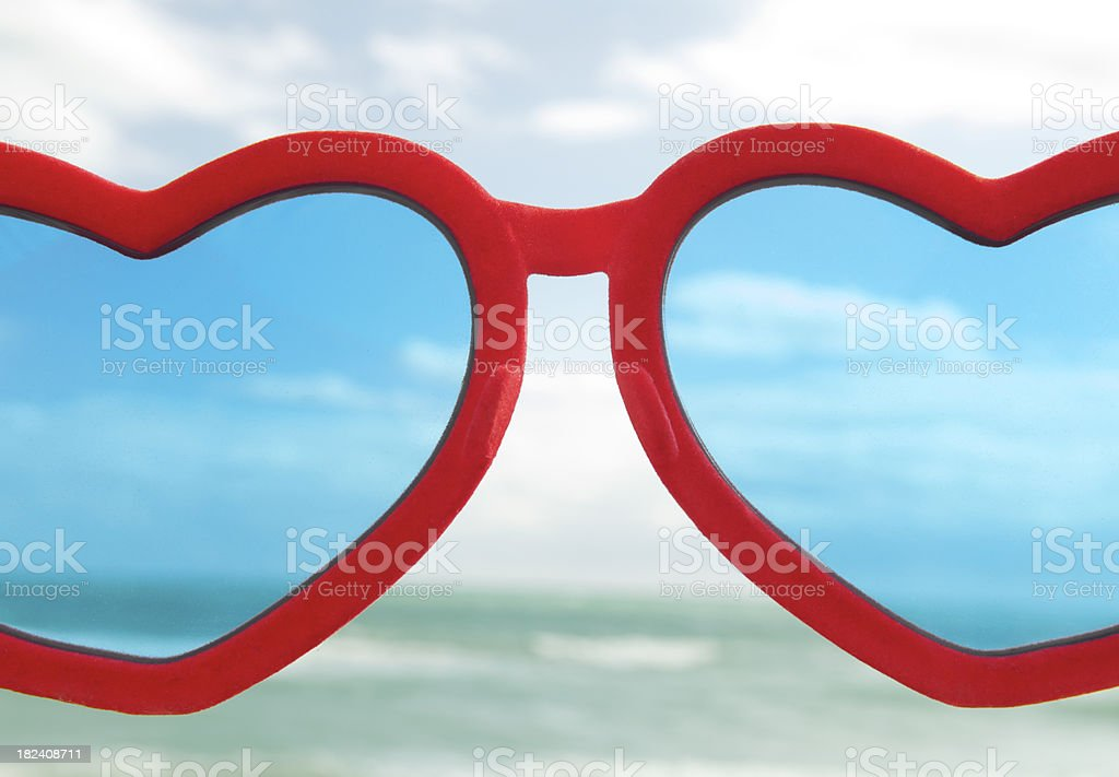 Looking Through Heart Glasses Over Horizon stock photo