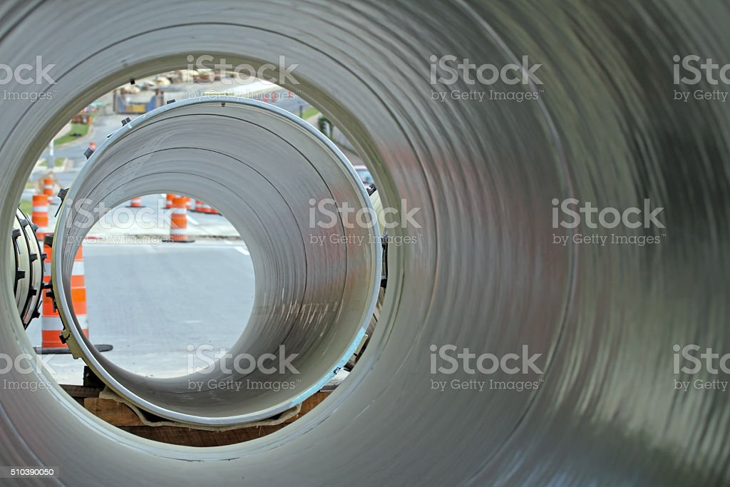 Looking Through Sections Of Large Diameter Water Pipe stock photo