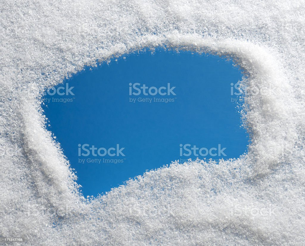 Looking through Snow Frozen Window (XXXL) royalty-free stock photo