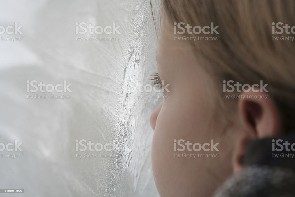 Looking through the icy window royalty-free stock photo
