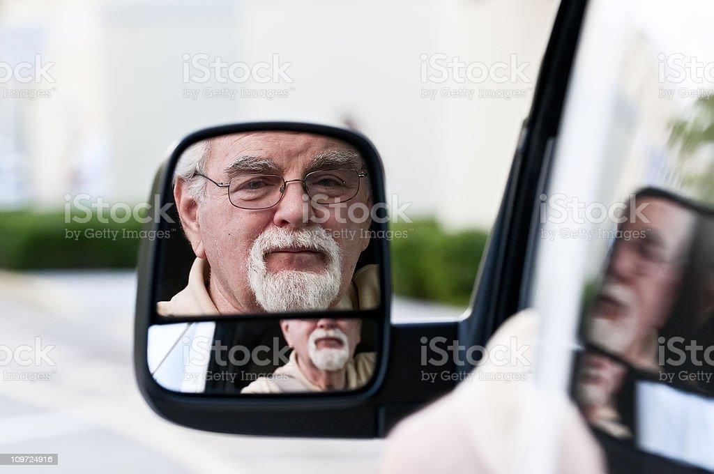Looking through the rear mirror stock photo