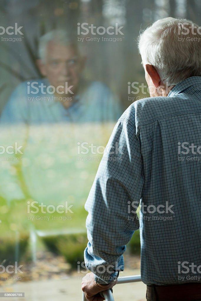 Looking through the window stock photo