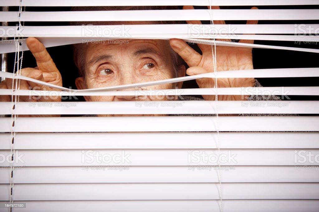 Looking through window stock photo