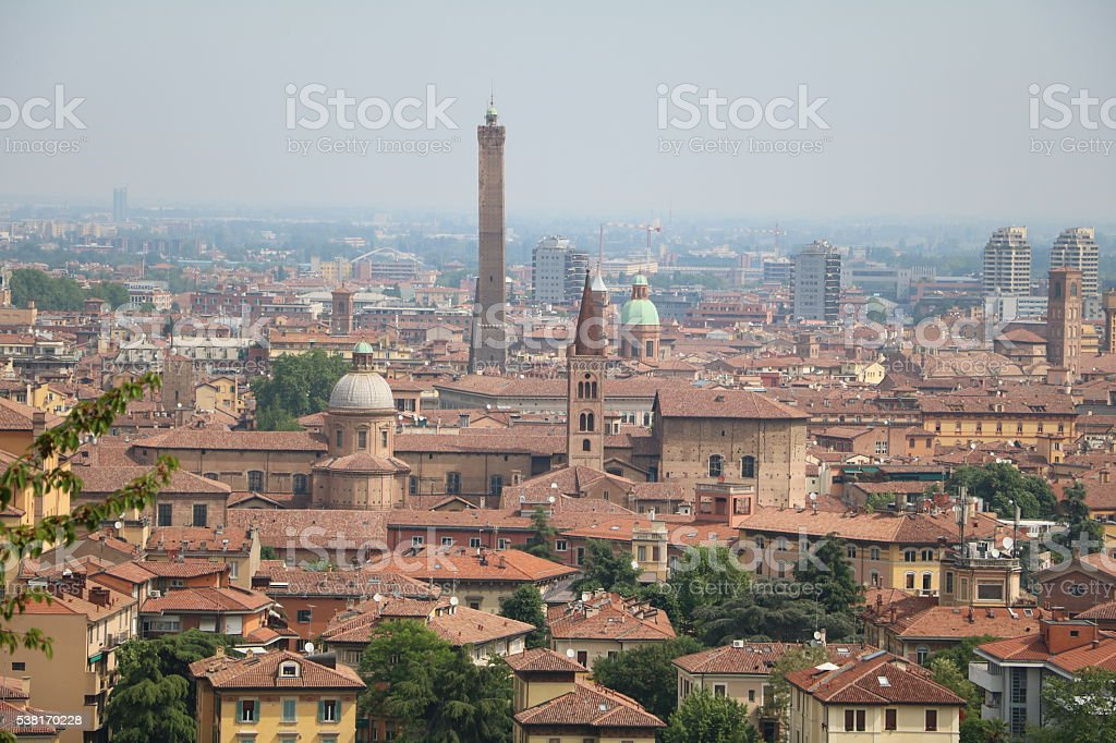 Looking to Bologna from San Michele in Bosco, Italy stock photo