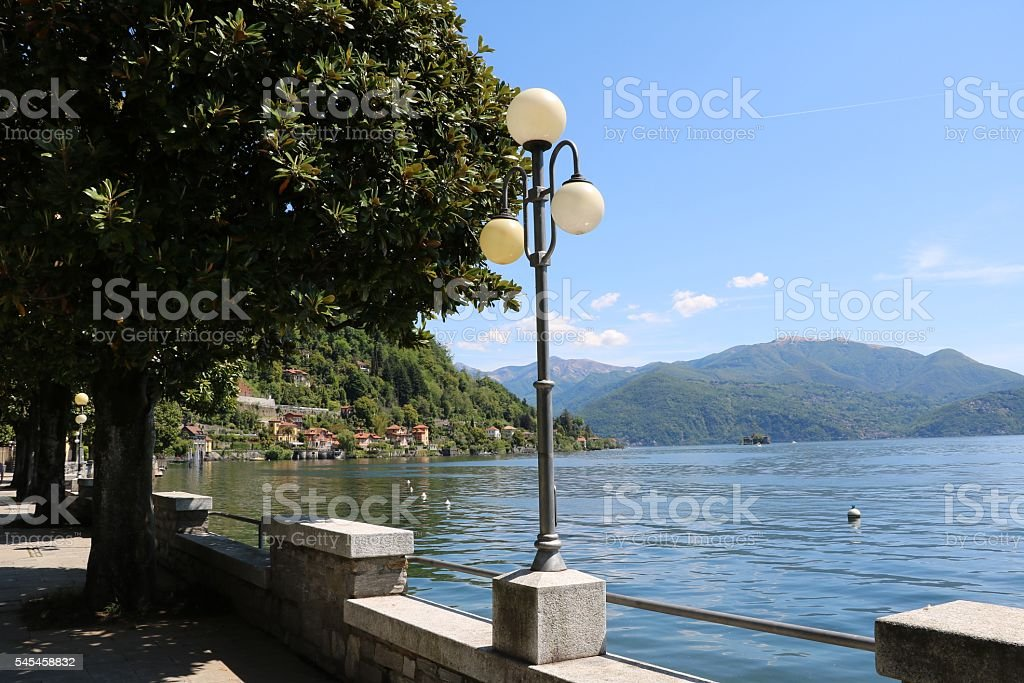 Looking to Castelli Cannero from Cannero Riviera, Lake Maggiore Italy stock photo
