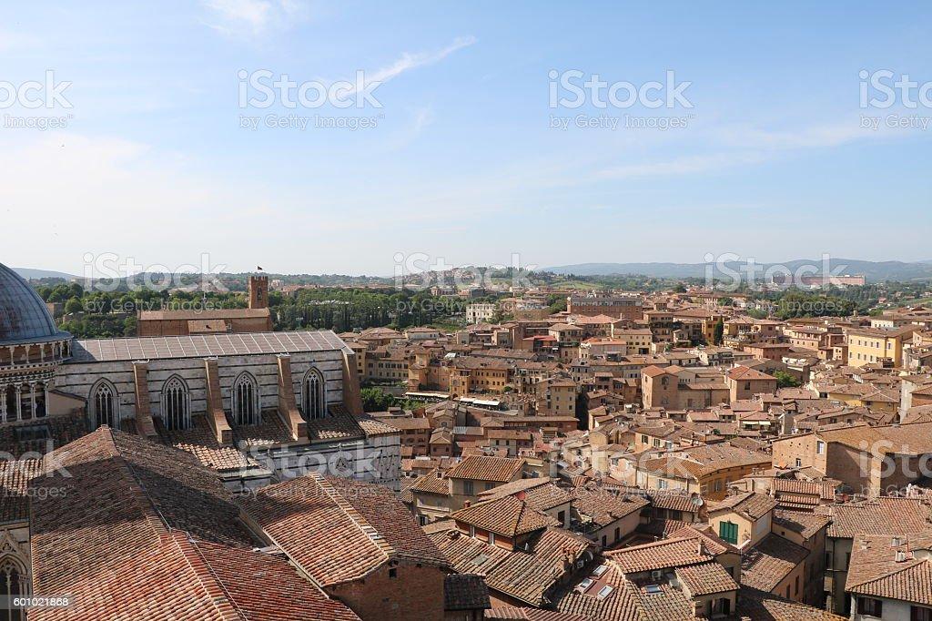 Looking to  Siena view from Museo dell'Opera Metropolitana, Tuscany Italy stock photo