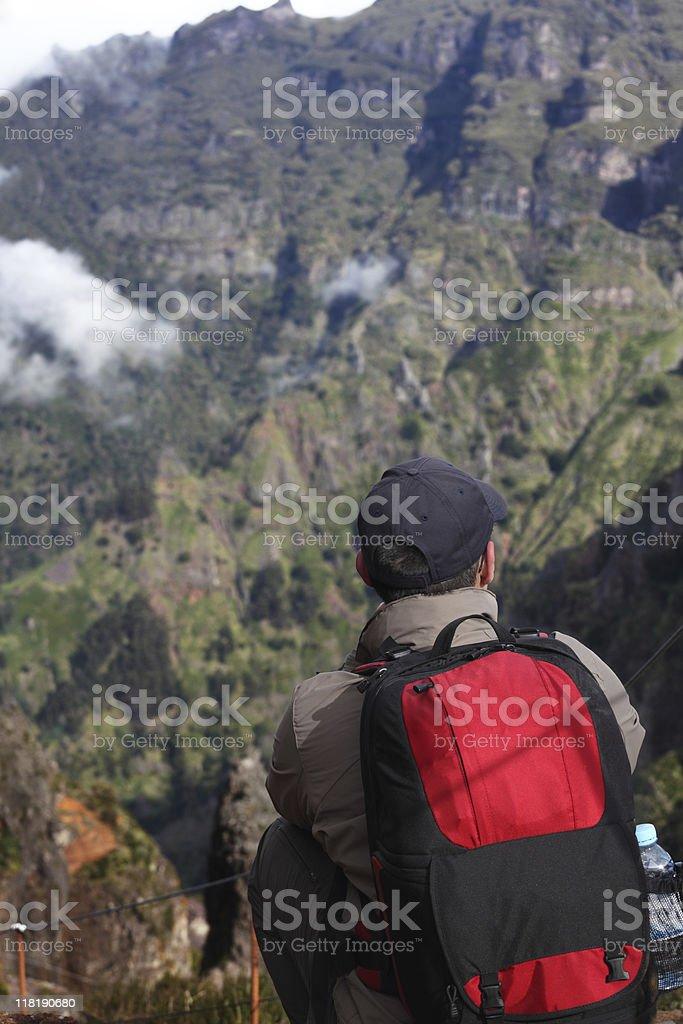 Looking to the Mountains of Madeira Pico Arieiro stock photo