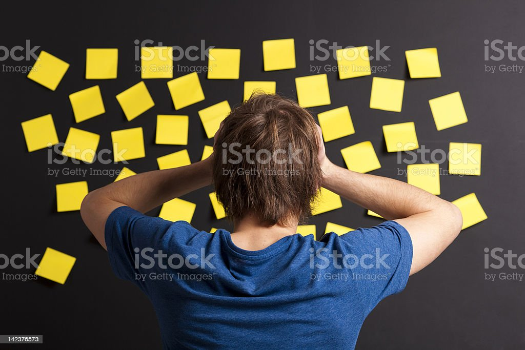 Looking to yellow reminders royalty-free stock photo