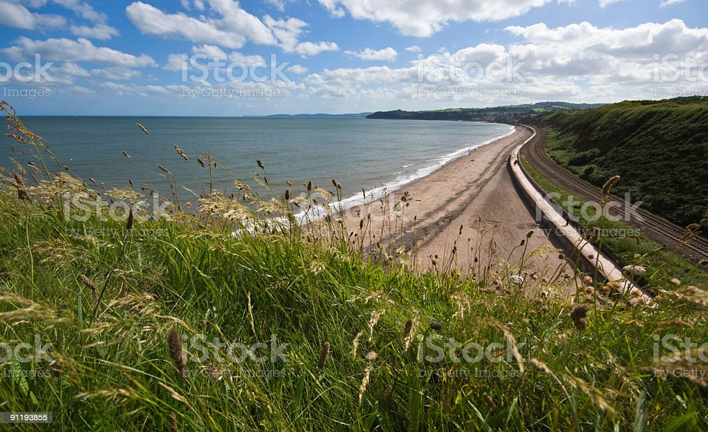 Looking toward Dawlish, Devon,UK from the Langstone Cliff stock photo