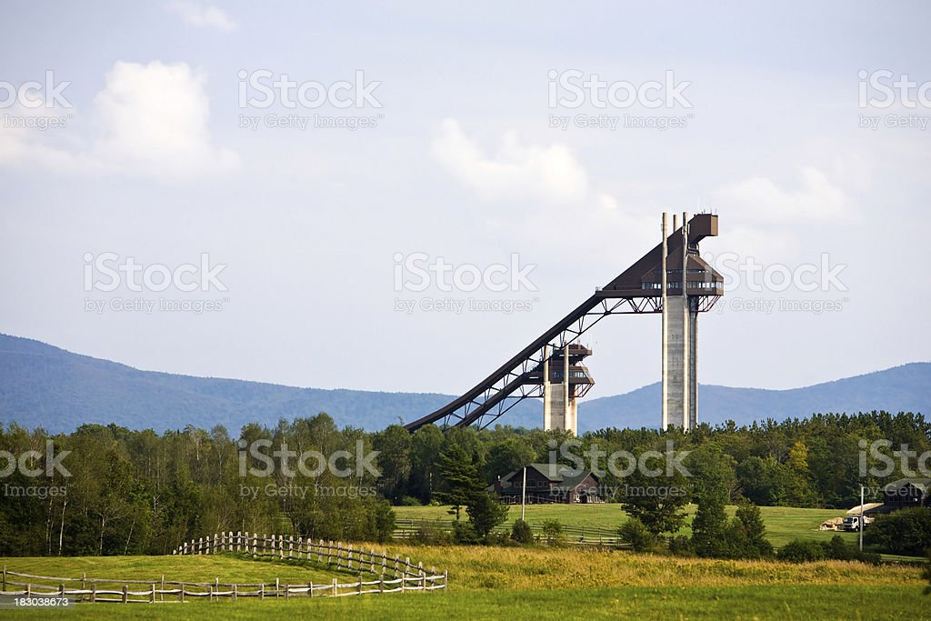 Looking toward the ski jumps stock photo