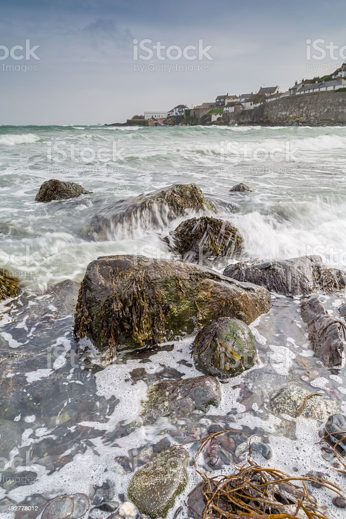 Looking towards Coverack across the sea stock photo