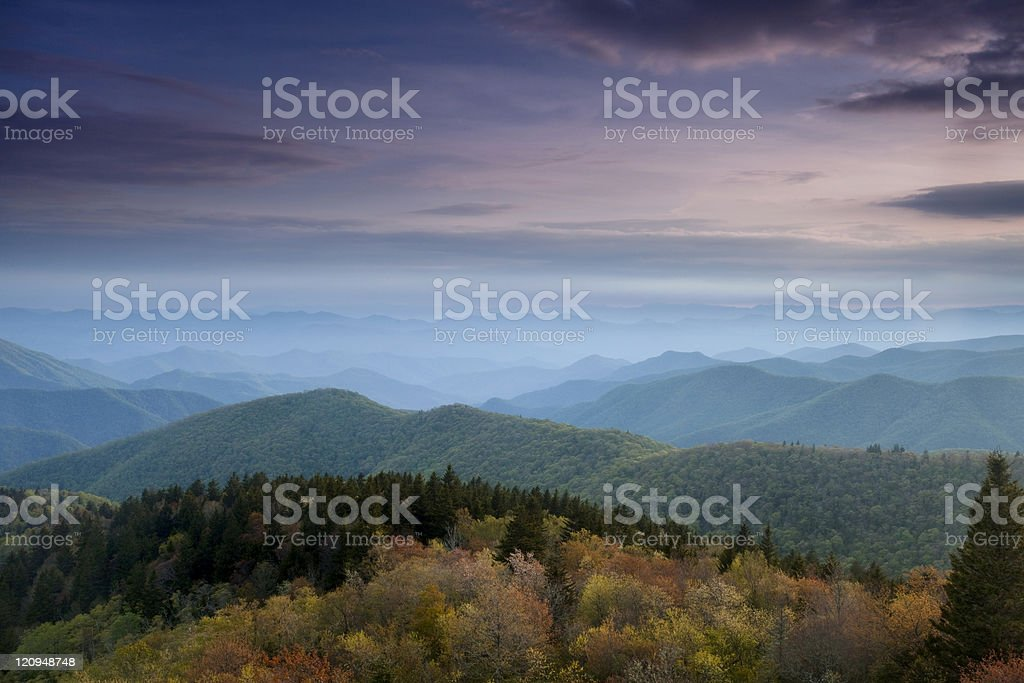 Looking towards the Blue Ridge Mountains at dusk royalty-free stock photo