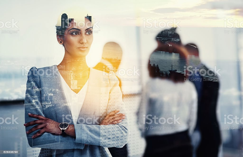 Looking towards the future of her company and her city stock photo