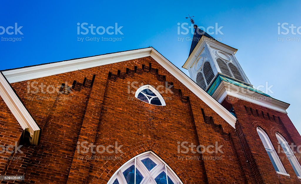 Looking up at a church in Abbottstown,  Pennsylvania. stock photo