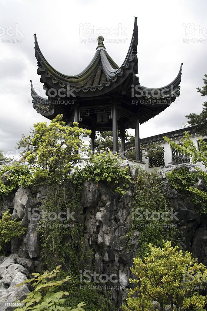 Looking up at a Pagoda royalty-free stock photo