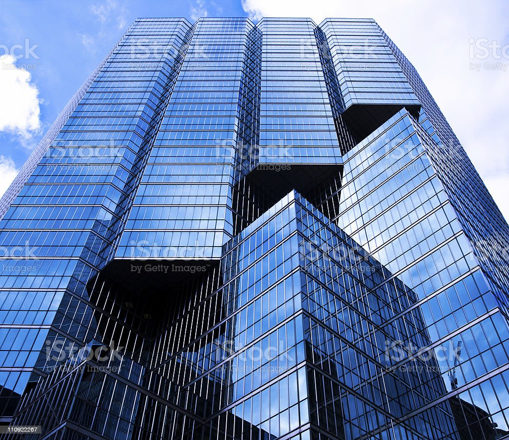 Looking up at blue glass modern apartment in Toronto royalty-free stock photo