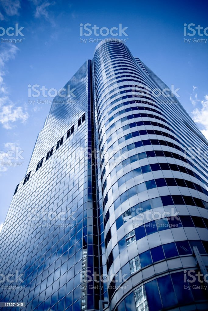 Looking up at blue toned high rise in Toronto stock photo